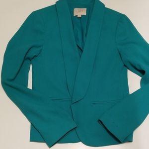 Loft open front teal blazer size xs